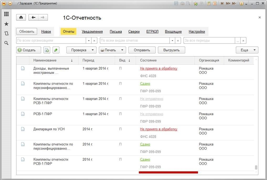 «1С-Отчетность»— отправка электронной отчетности вовсе контролирующие органы напрямую изпрограммы, Колонка Состояние