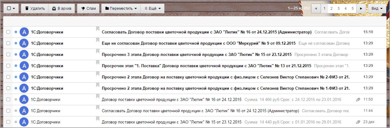 Функциональность «1С:Договоров», Оповещение поэлектронной почте