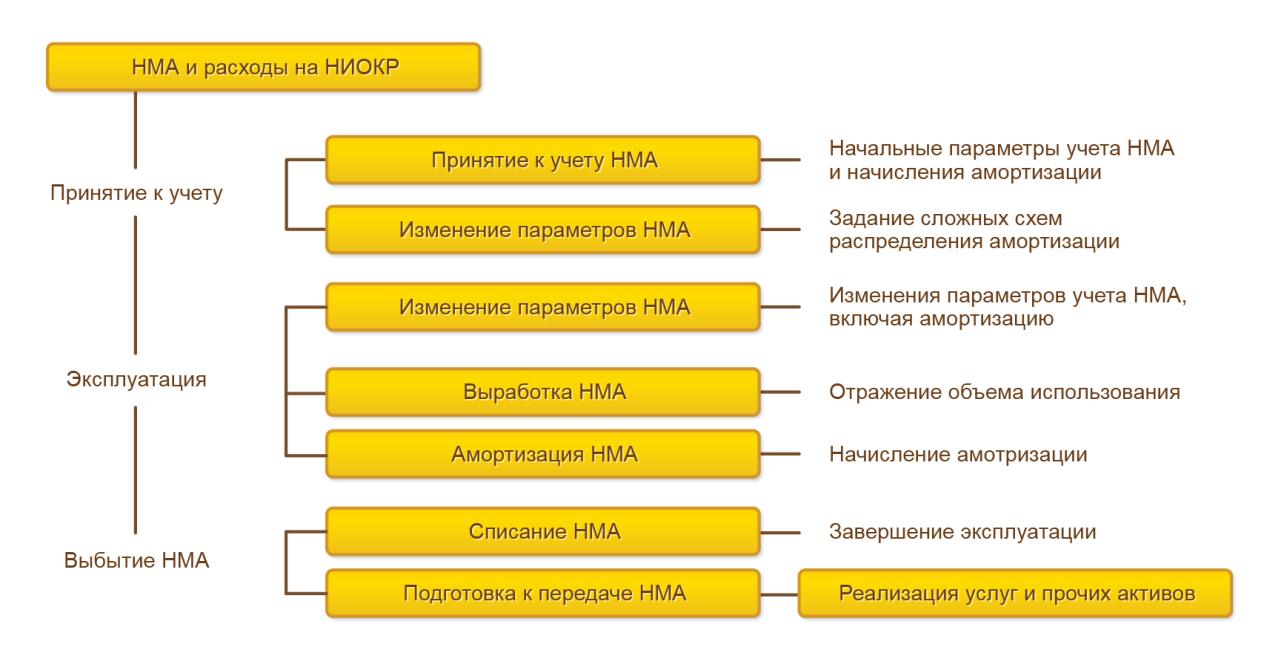 Регламентированный учет, Общая схема документооборота, отражающая движение нематериальных активов смомента ввода вэксплуатацию довыбытия