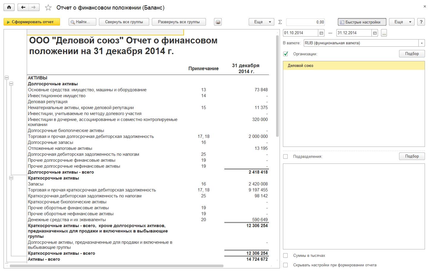 Международный финансовый учет, Отчет офинансовом положении