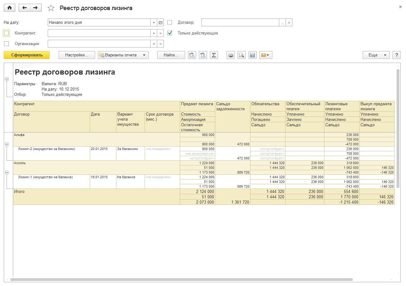 Регламентированный учет, Реестр договоров лизинга