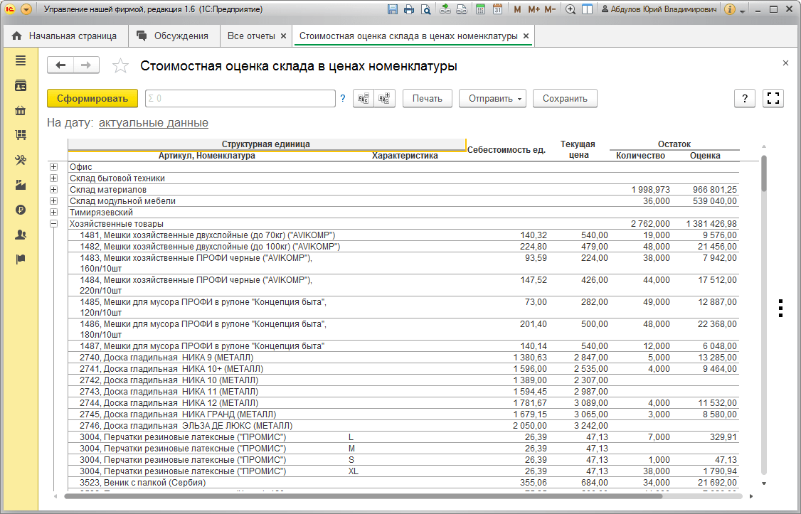 Склад, Стоимостная оценка склада