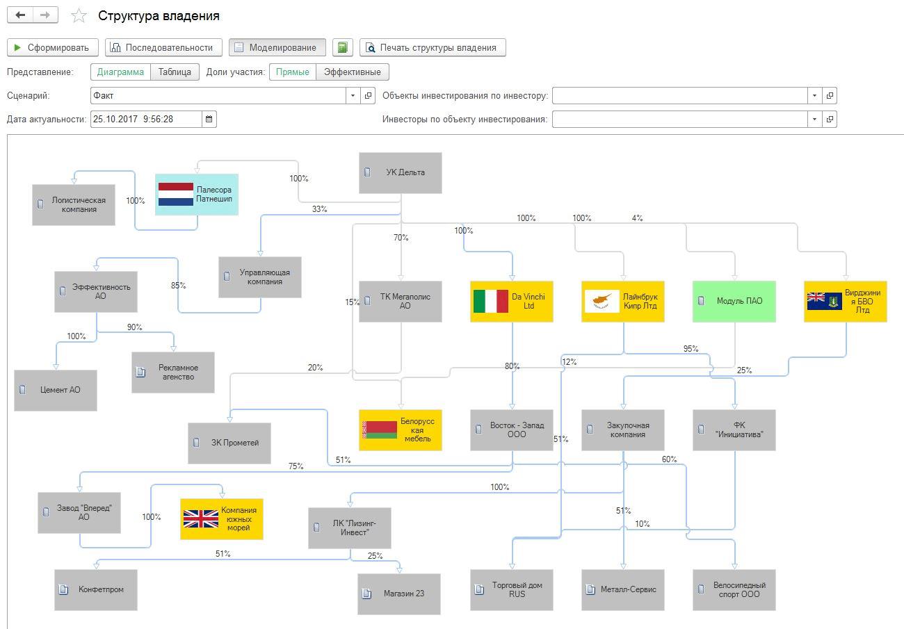 Бюджетирование, Графическое отображение структуры группы при консолидации отчетов ибюджетов