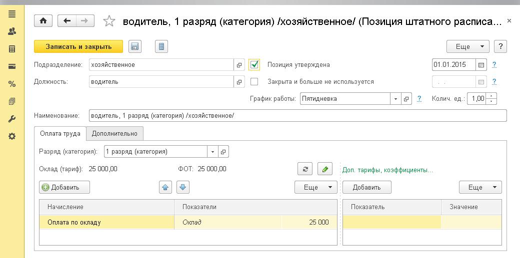 Возможности версии ПРОФ, Позиция штатного расписания